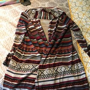 Women's long hooded open cardigan.